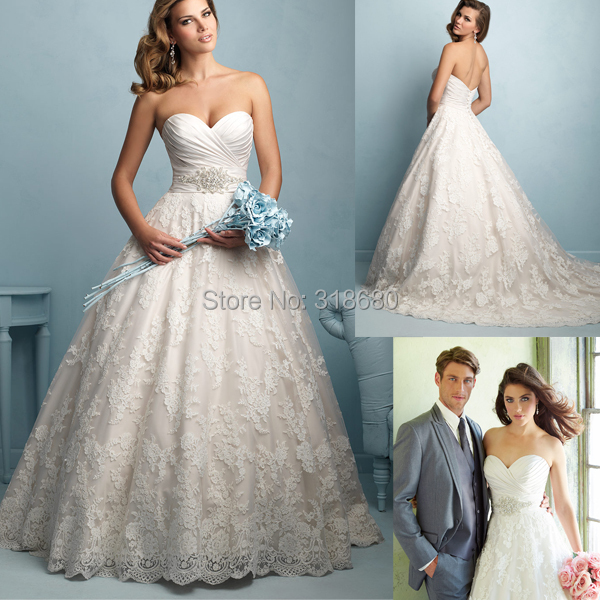 Buy fashion trend lace applique for Sweetheart neckline ruched bodice wedding dress