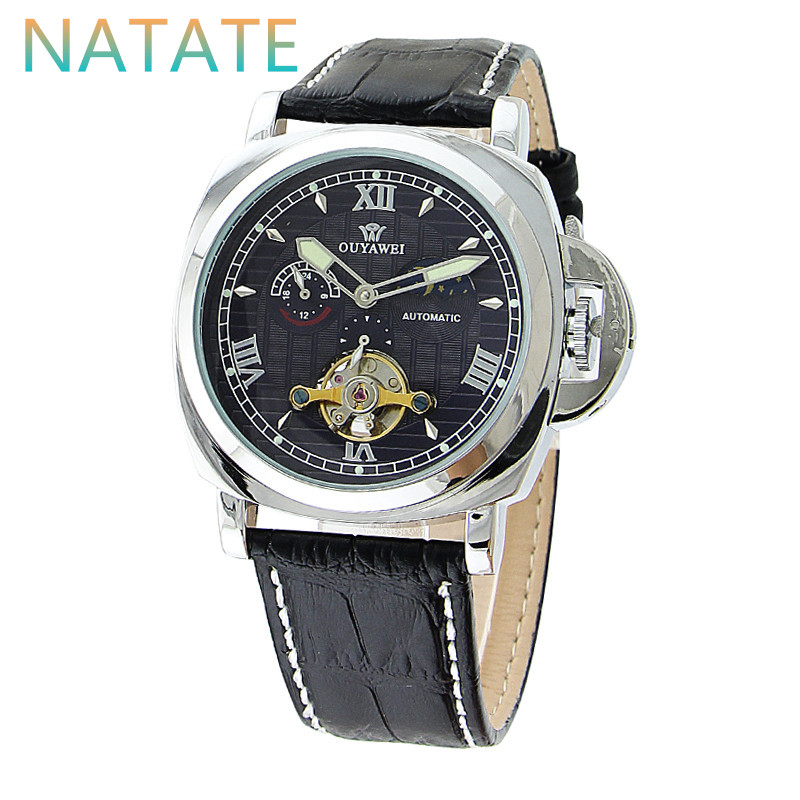 NATATE OUYAWEI Men Fashion Waterproof Watch Moon Phase Tourbillon Mechanical Classic Watches With Tourbillon Leather Strap 0940<br><br>Aliexpress