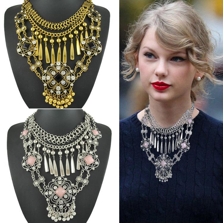 New 2015 Vintage Metal Bib Collar Choker Statement Necklaces &amp; Pendants for Women maxi necklace<br><br>Aliexpress
