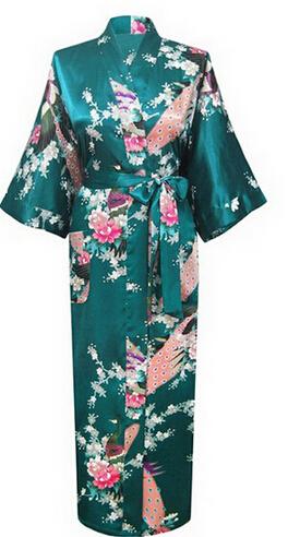 Brand New Long Robe Satin Rayon Bathrobe Nightgown For Women Kimono Sleepwear Flower Plus Size S-XXXL S02D(China (Mainland))
