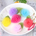 Hot Sale New Style Chiffon Rose Flower Hairpins Kids Barrettes Leaves Children Hair Accessories Baby Lovely