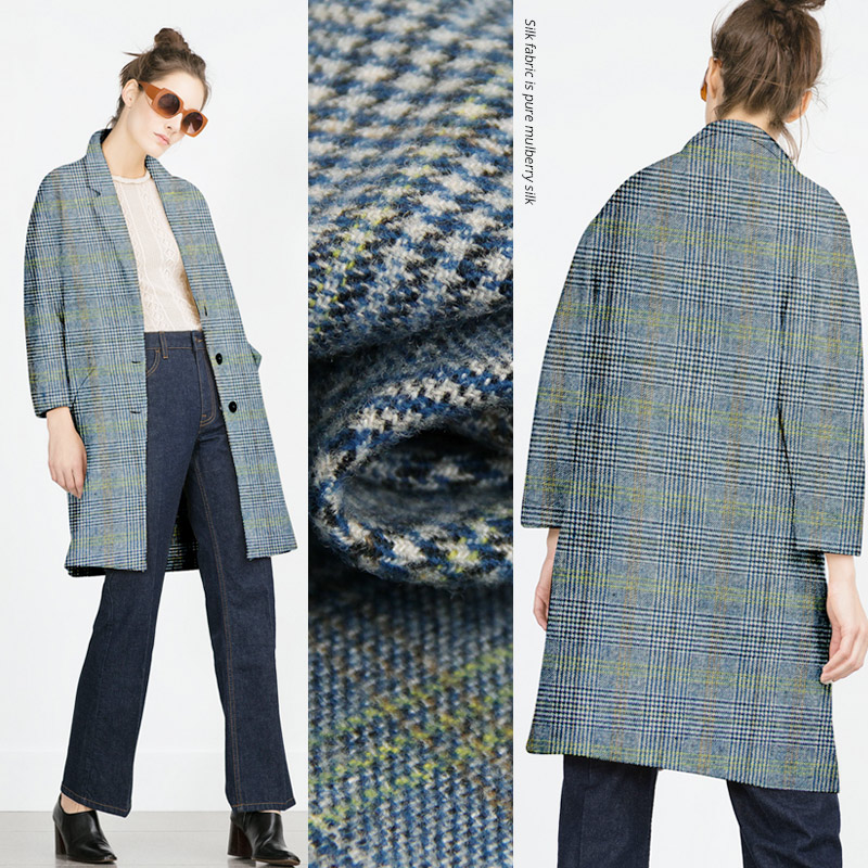 100x150cm modern vogue plaid wool fabric for dressmaking for Clothing materials for sale