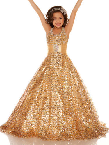 Girls Pageant Dresses 2015 Ball Gown Halter Squins Beaded Gold Sparkle Cute Little Flower Girl Dresses For Wedding(China (Mainland))