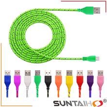 Hot 1 M / 2 M / 3 M Nylon tressé Micro USB câble, Chargeur USB Data Sync câble cordon pour Samsung Galaxy téléphones cellulaires 10 couleurs disponibles(China (Mainland))