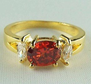 Fashion jewelry Wedding Engagement Ruby crystal 18kgp Gold Filled Ring size8