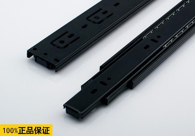 Home Hardware section three ball slide rail drawer track mute black furniture guide(China (Mainland))