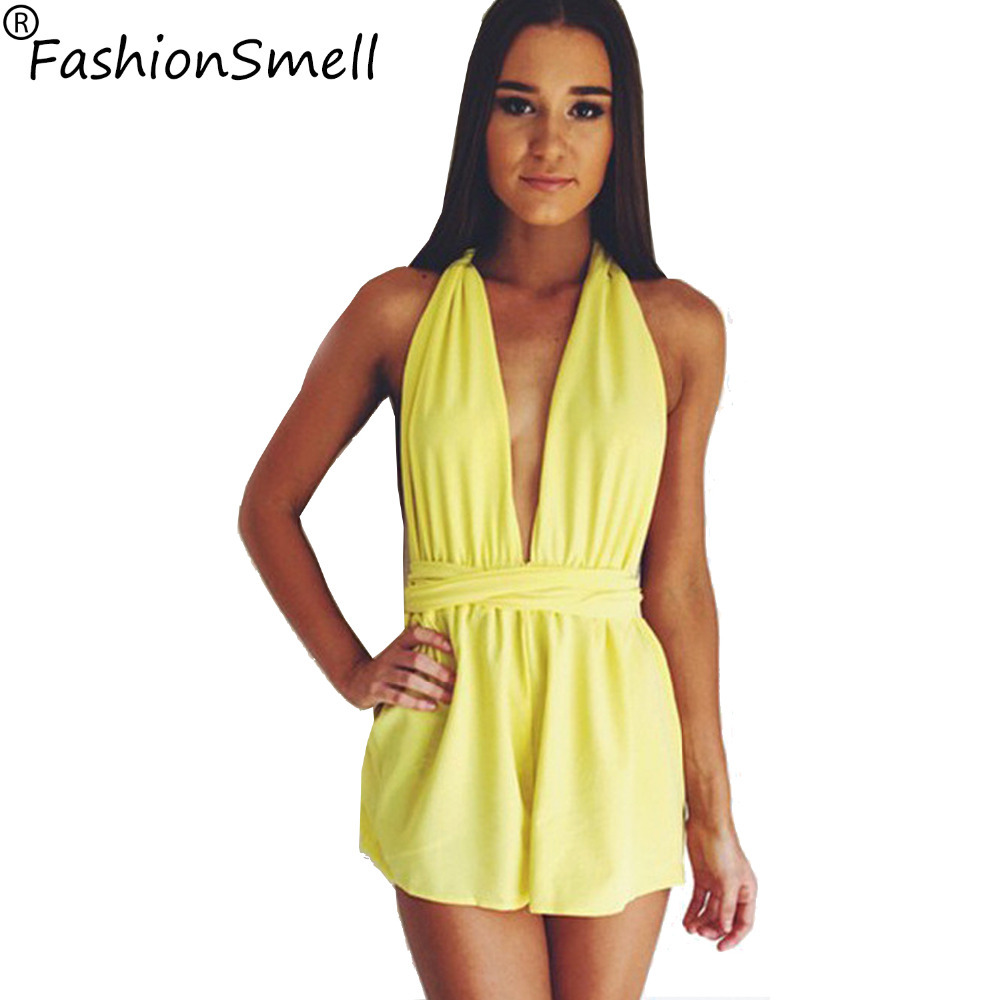 Perfect Sexy Rompers Womens Jumpsuit 2014 Bright Yellow Cut Out Overalls Deep