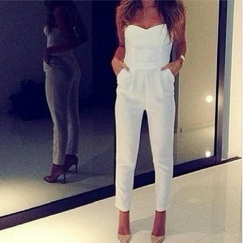 Sexy White Jumpsuits For Women Woman Jumpsuit Summer 2016 Black Women Overall Sexy Black Jumpsuits Macacao Feminino Longo Strap(China (Mainland))