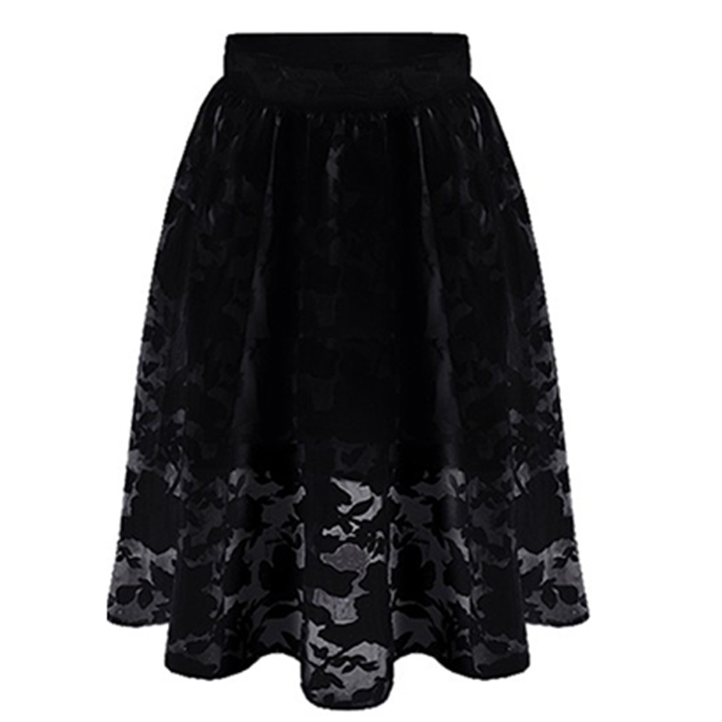 summer lace black white skirt big size casual