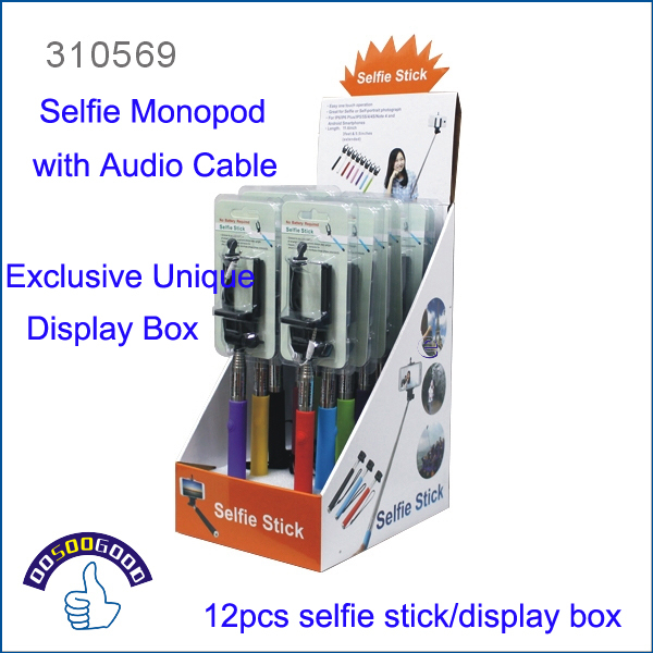 Exclusive Unique Design Customed Made Display Box + Extendable Handheld Selfie Monopod with Audio Cable for iPhone/Samsung(China (Mainland))