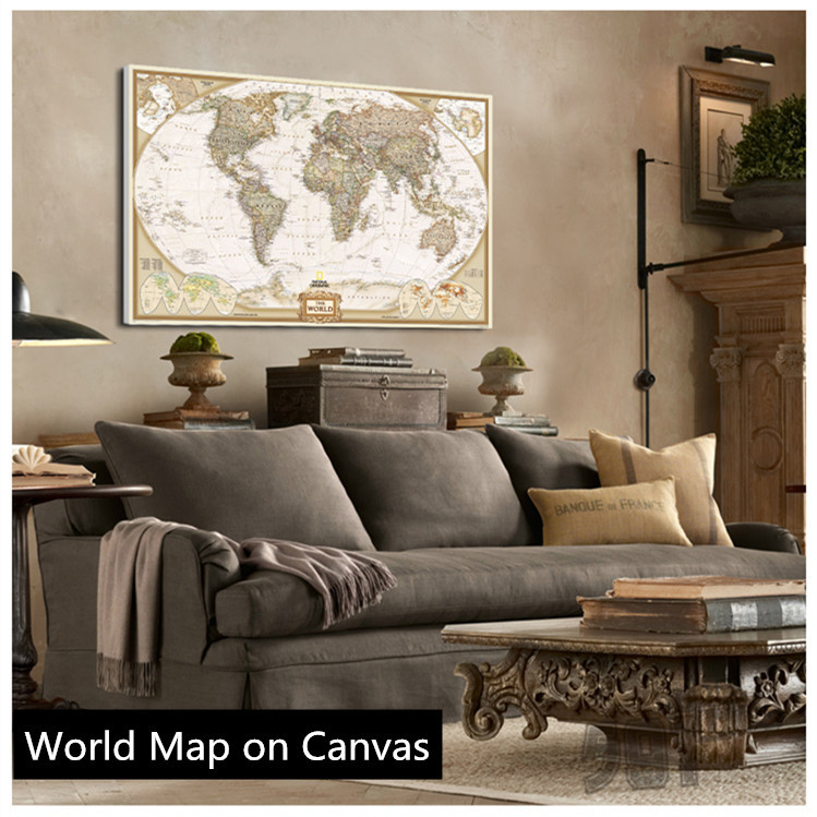 Hot sale vintage english world map painting on canvas for Living room decor for sale