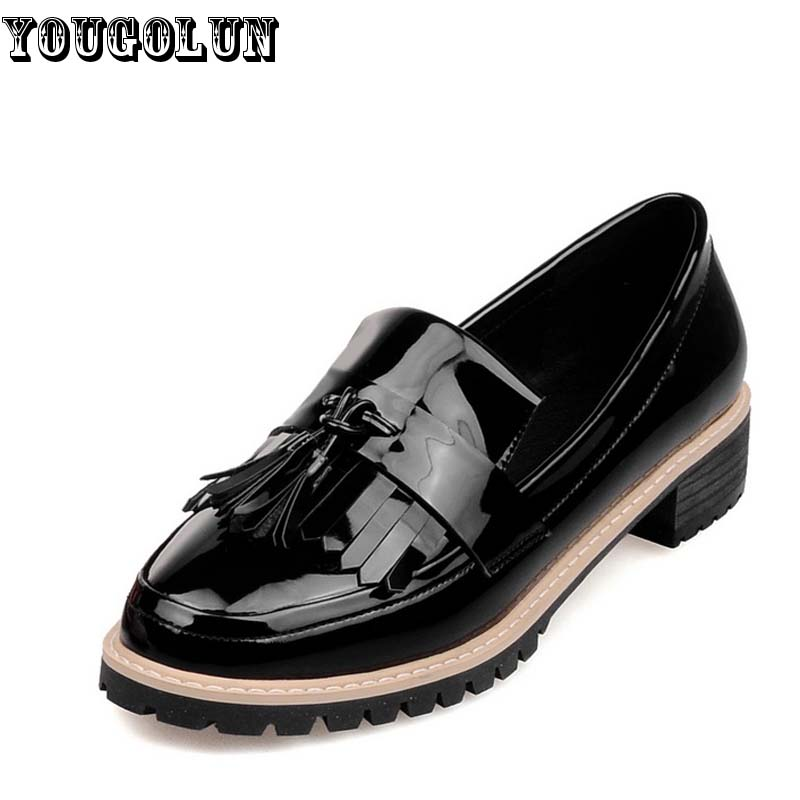 Tassel Loafers Women Casual Low Heel Shoes Woman Fashion Thick Shoe Elegant Ladies Beige Red Black Round toe Spring - YOUGOLUN store