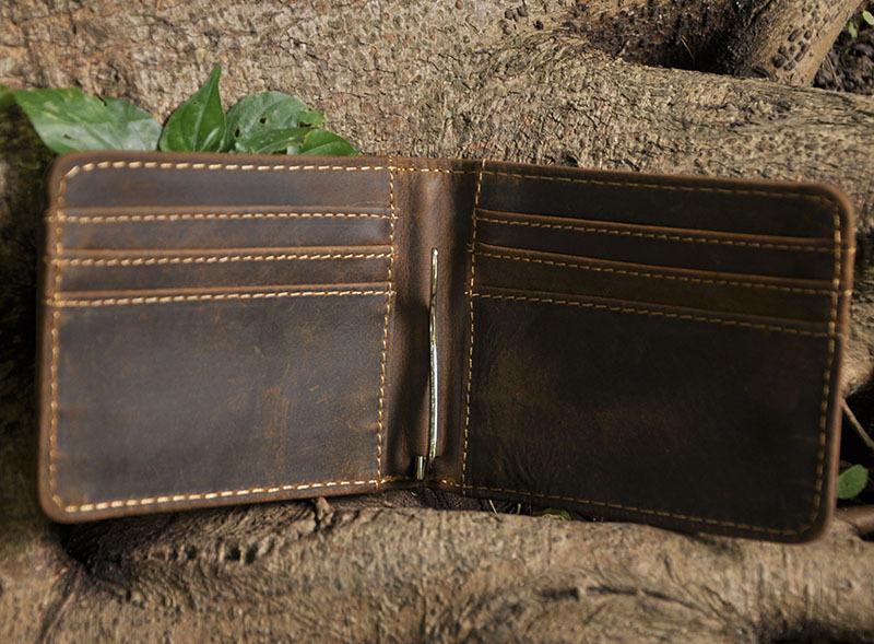 Brand High Quality Vintage Retro Genuine Crazy Horse Leather Cowhide Men Male Short Bifold Wallet Wallets