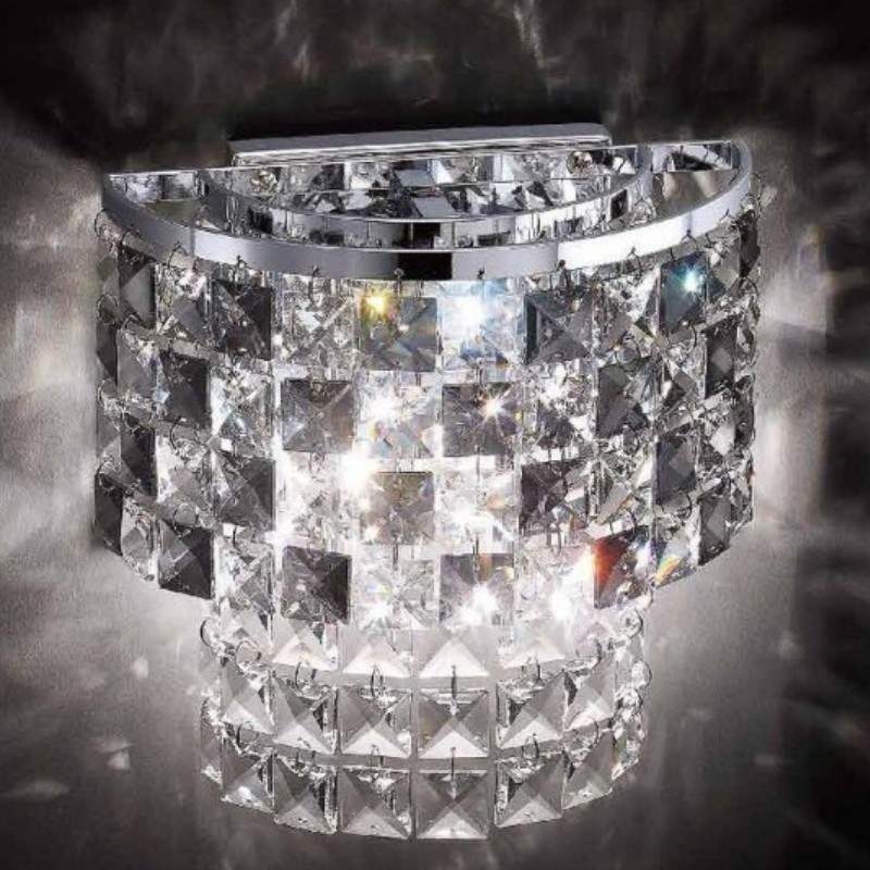 Hot Stone Wall Lamp Led Chrome : Hot selling Crystal Wall Sconces With E14 Crystal wall lamp Chrome / Gold living room Bedroom ...