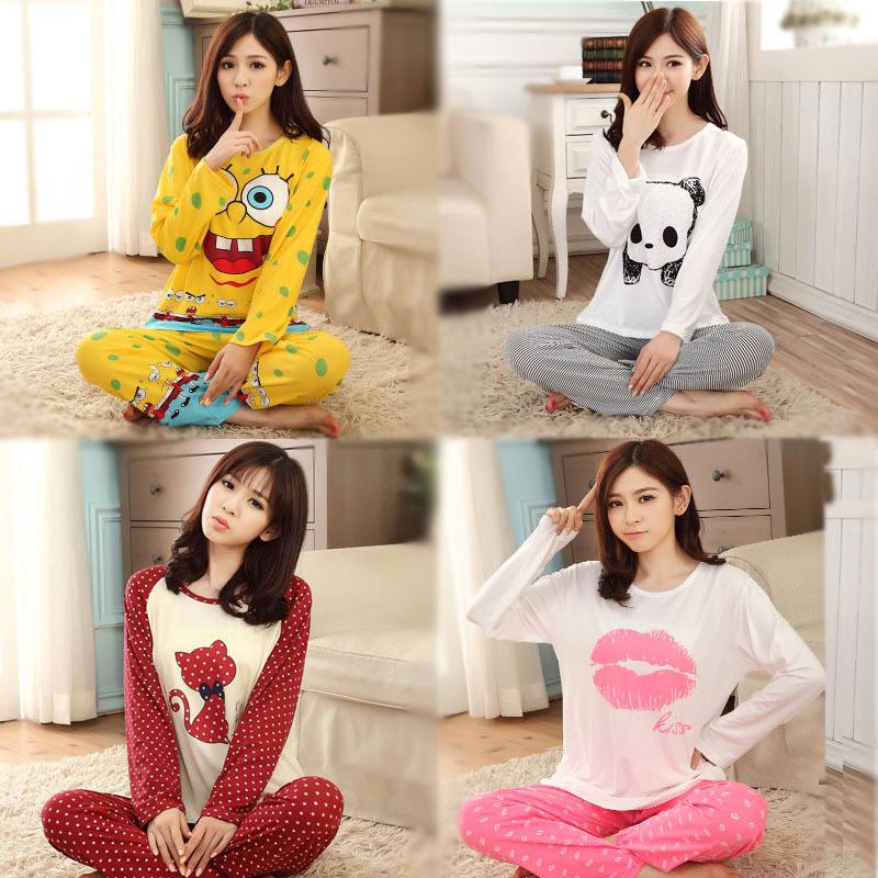 New 2015 Autumn Winter Womens Pajama Sets O-Neck Long Sleeve Women Sleepwear Pajamas Girls Kigurumi for Woman 19 Colros G0196(China (Mainland))