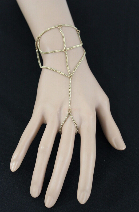 New Women Gold Metal Thin Hand Chain Wave Bracelet Casual Fashion Slave(China (Mainland))