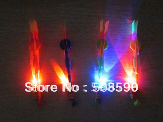 free shipping 200pcs/lot 16.7*2.1cm red/blue flashing led arrow led helicopter arrow amazing flying arrow  for christmas