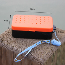 Multifunction Fish Tackle Box 10 * 6 * 3.2cm Earthworm Worm Bait Lure Fishing Tackle Box 2 Compartments Plastic(China (Mainland))