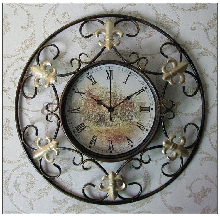 Vintage Round Clock New Stylish Antique Style 18 inch Metal Decor Wall Clocks Hollow Retro Pastoral - JCFY SPECIAL DESIGN store
