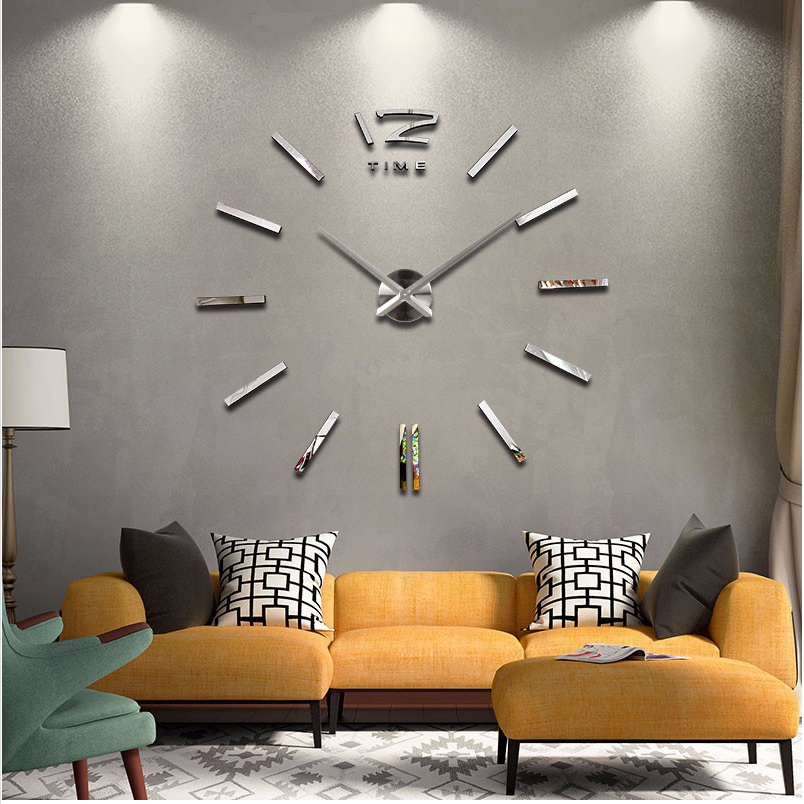 2016 New Home Decor Large Wall Clock Modern Design Living Room Quartz Metal Decorative Designer
