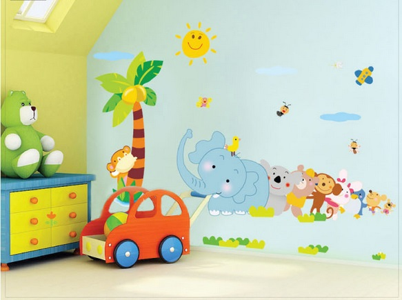 free shipping cartoon animal park home appliances Bedroom nursery school children decorative waterproof removable wall stickers(China (Mainland))