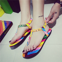 Women sandals 2015 gladiator sandals women designer summer shoes Mixed Colors rivet Rainbow sandals
