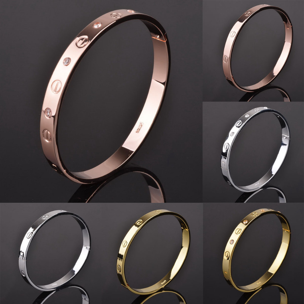 Fashion Pulseiras Crystal Bracelets Bangles Lady Gold Silver Color Carter Love Bracelet Bangles Metal Love Jewelry