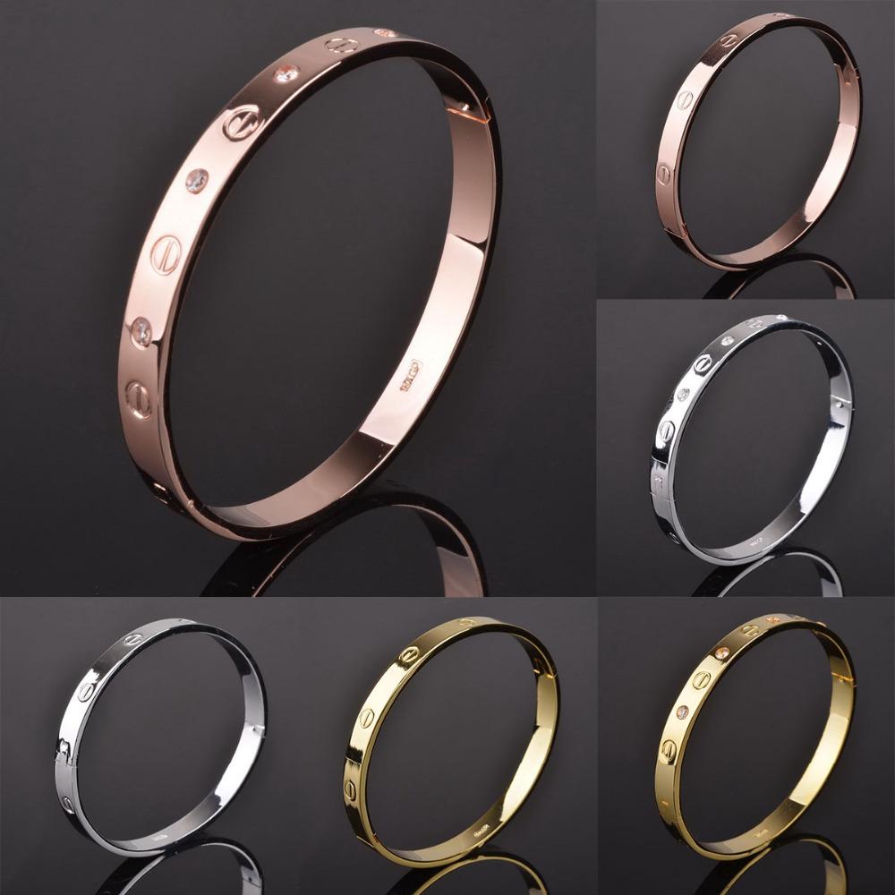 Fashion Pulseiras Crystal Bracelets Bangles Lady Gold Silver Color Carter Love Bracelet Bangles Metal Love Jewelry