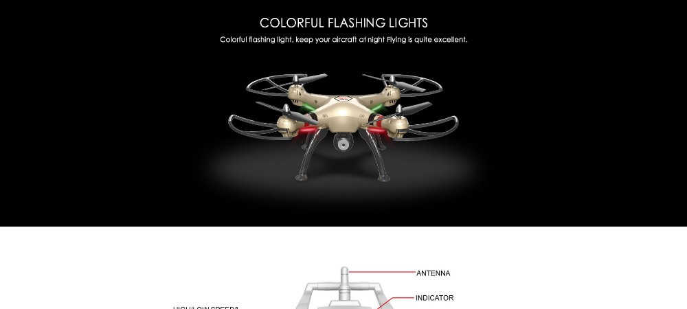 SYMA X8HC 4CH 6-Axis RC Quadcopter Drone with HD Camera 2.4G RTF with Headless Mode One Key Return X8C Upgrade