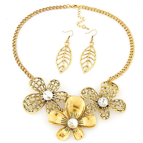 Fashion Gold Plated Vintage African Wedding Jewelry Sets Big Flower Pendant Collar Necklaces Leaf Drop Earrings Statement Choker - RaviMour store