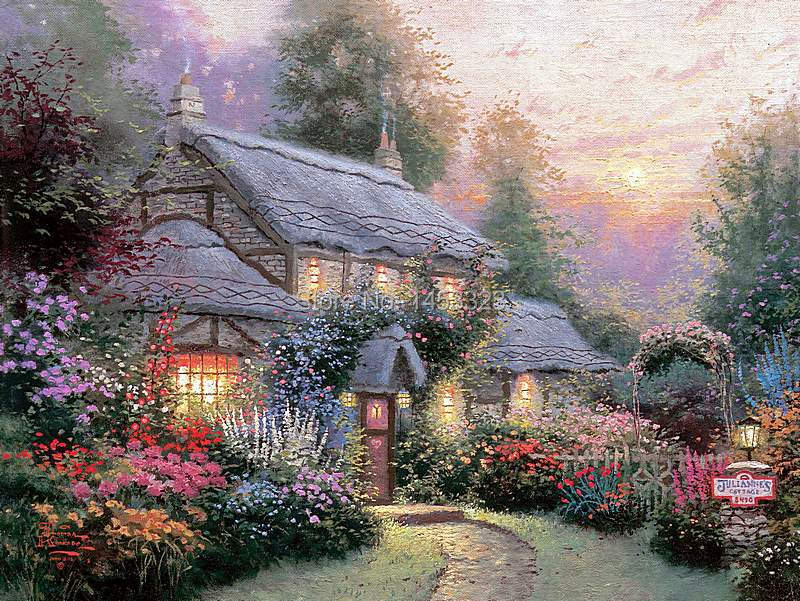 Thomas Kinkade Original Landscape Oil Painting Julianne 39 S Cottage Art Prints On Canvas Home
