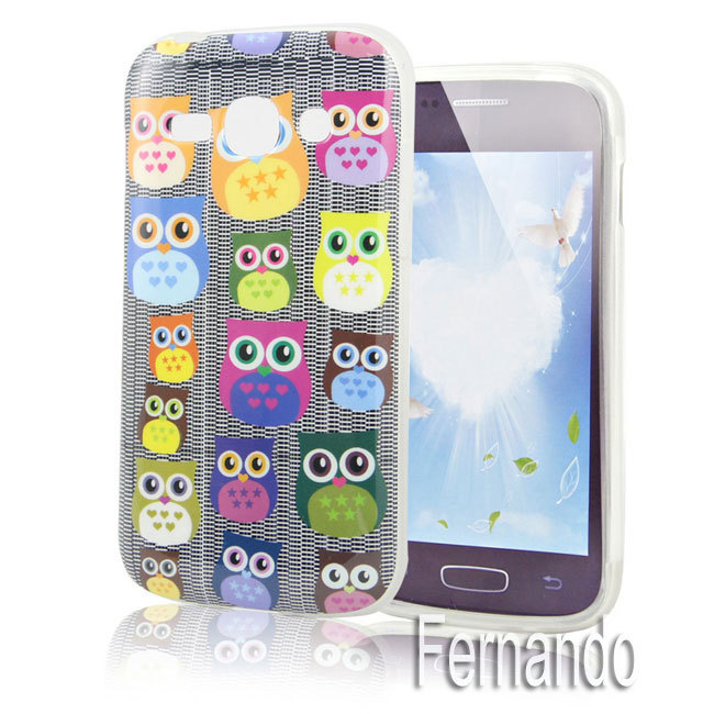Lovely Silicone Cute Cartoon Owl Pattern B98 Soft TPU Skin Case Cover Samsung Galaxy Ace 3 S7270 S7272 S7275 + Gift - Fernando Zou's store