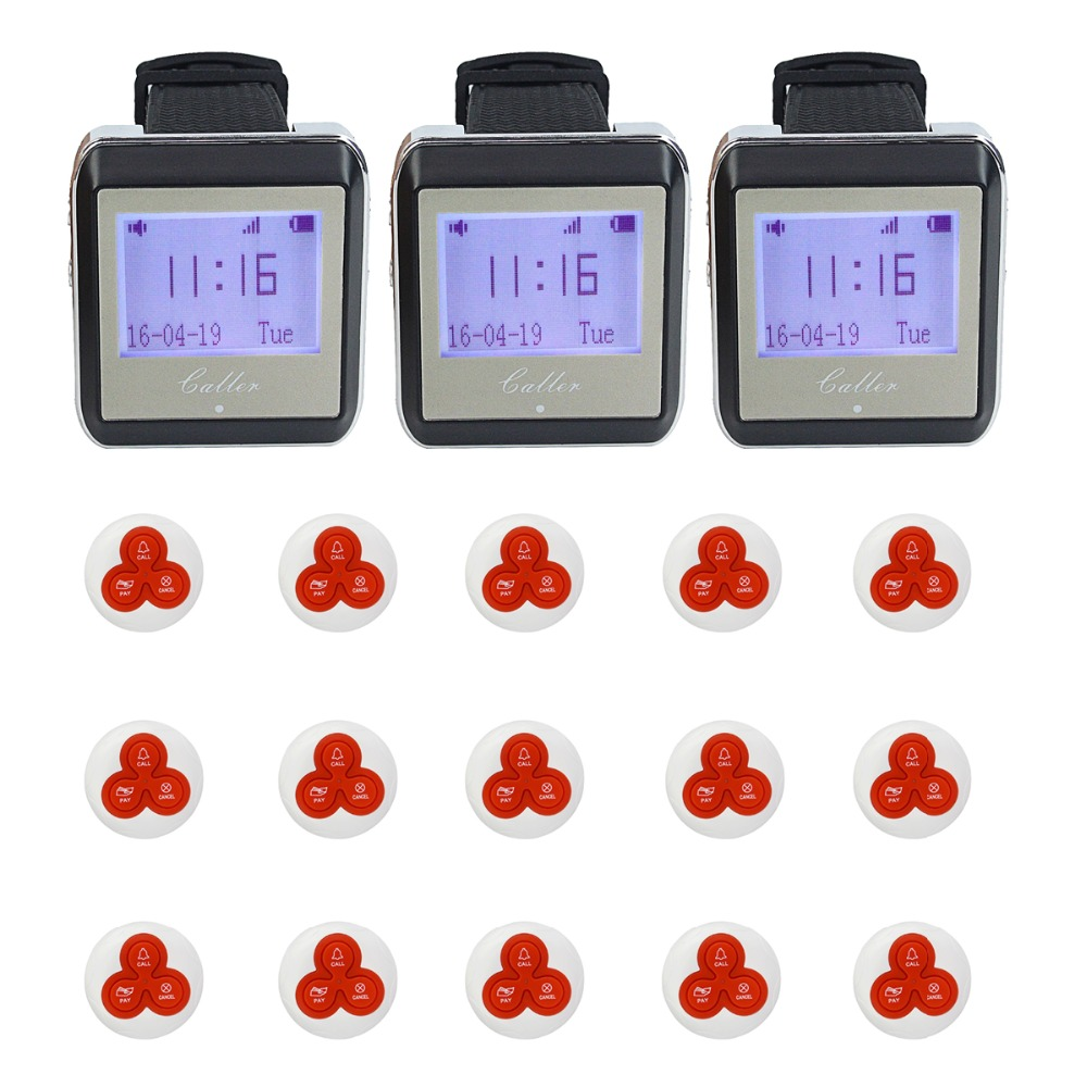 3pcs Watch Pager Receiver+15pcs Call Button 433MHz Wireless Pager Restaurant Calling System Waiter Call Pager System F4413B(China (Mainland))