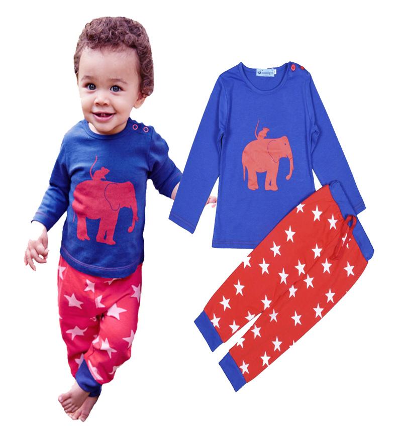 Kikikids New Cartoon Boys Set elephant pattern Long Sleeve t-shirt fashion Star Print pant baby boys Sleepwear kids set for girl(China (Mainland))