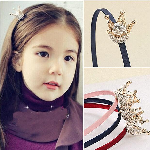 girl hair fashion band alloy crown with rhinestone headband summer style children kids hair accessories(China (Mainland))