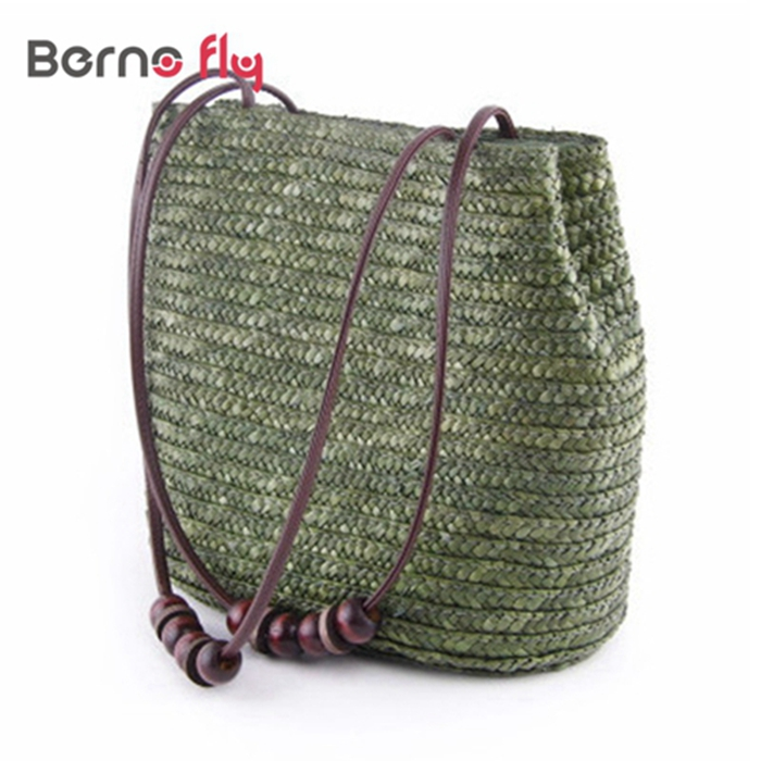 Fashion Solid Shopping Tote solid zipper Beach Bag Casual Bucket Straw Tote Bag Summer Shoulder Bag Vintage Women Handbag(China (Mainland))