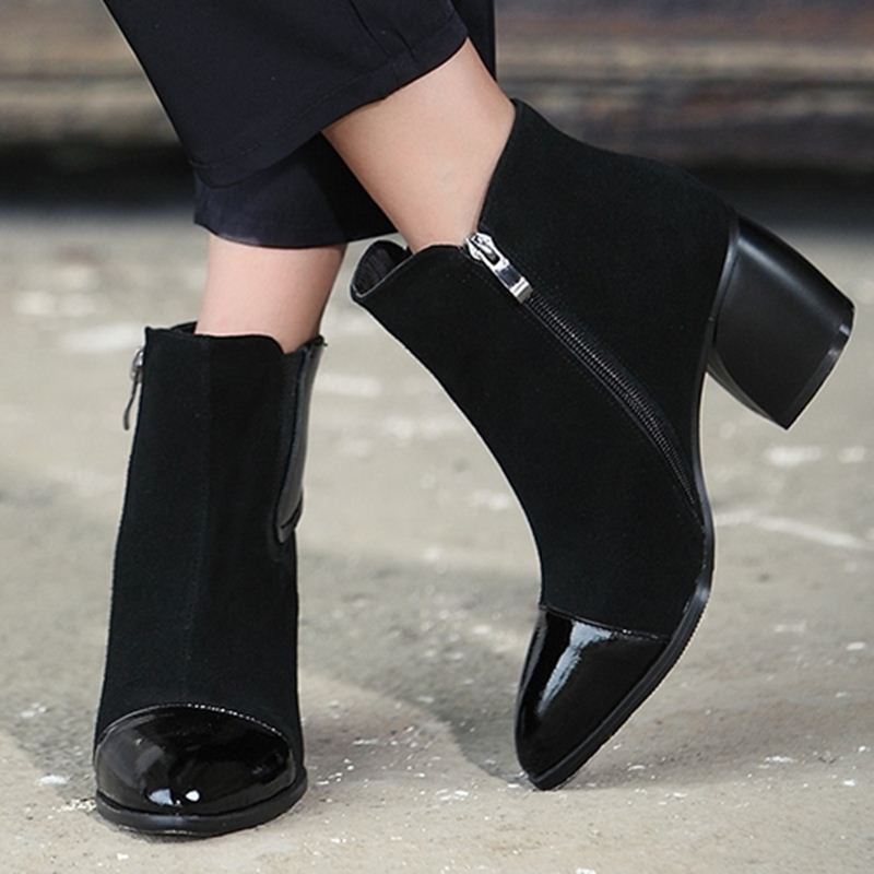 2015 new arrival ankle boots western hot style winter autumn fashion shoes women short boots square medium heels pointed toe<br><br>Aliexpress