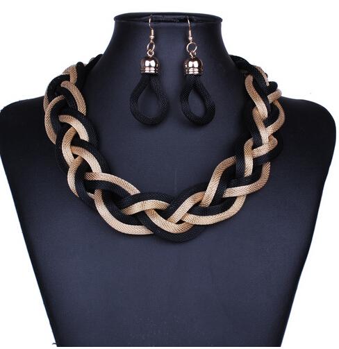 African Costume Jewelry Sets Braid Twist Chain Necklace Set Women Bohemian Jewelry Sets Womens Jewellery Indian Jewerly(China (Mainland))