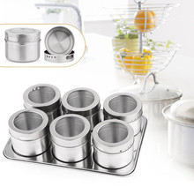 Hot Sale 6pcs Magnetic Cruet Condiment Spices Jar Storage Set Stainless Steel Condimento Canister sauce bottle Seasoning Tools(China (Mainland))