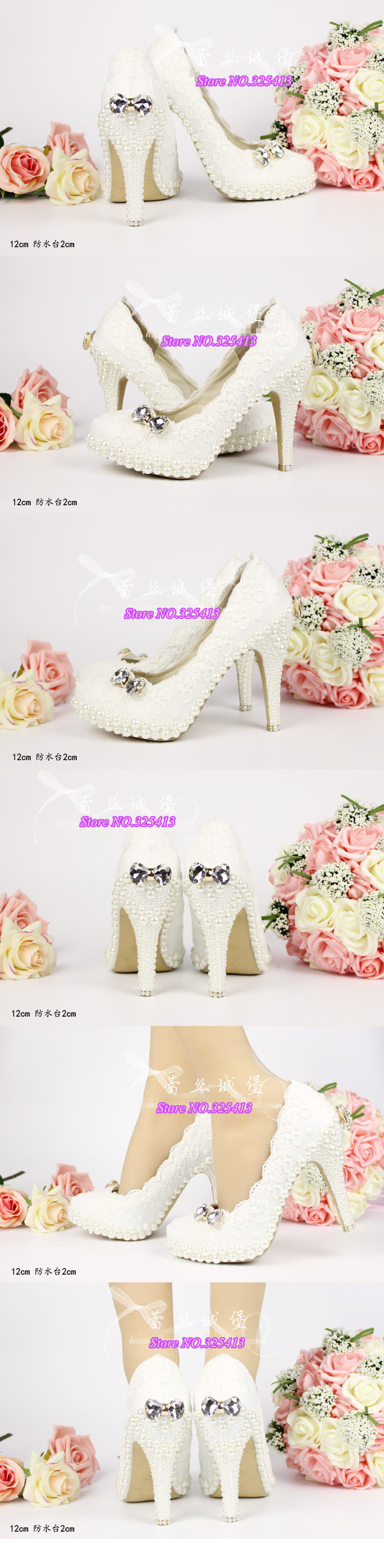 Spring and summer woman aesthetic crystal bow pearl shoes wedding shoes bridal white lace party shoe platform big size shoe