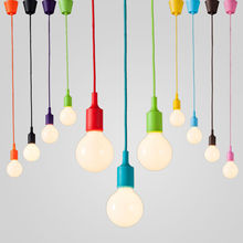 Colorful Silicone Pendant Lights E27 Holder AC90-260V Modern Fashion DIY Design Creative Pendant Lamps 100cm Cord Ceiling Base(China (Mainland))