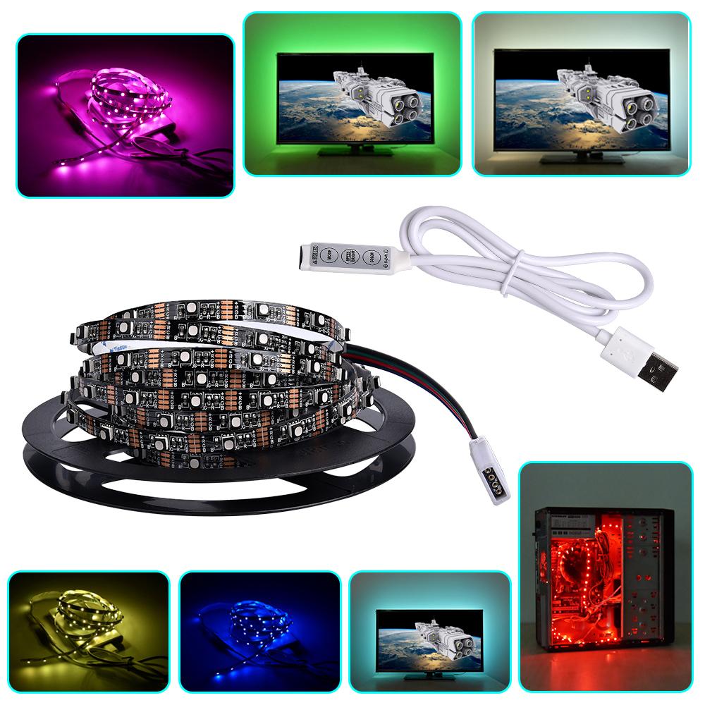 USB 5V RGB LED Strip 1m 2m 3m 3535 CRI90 LED Tape Ribbon Light 6mm for TV Background Lighting Computer Car Bike Decor+Controller(China (Mainland))