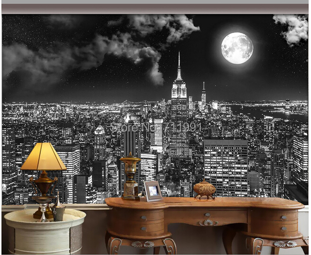 Custom vintage wall wallpaper new york city night for the living room sofa ba - Toile new york noir et blanc ...