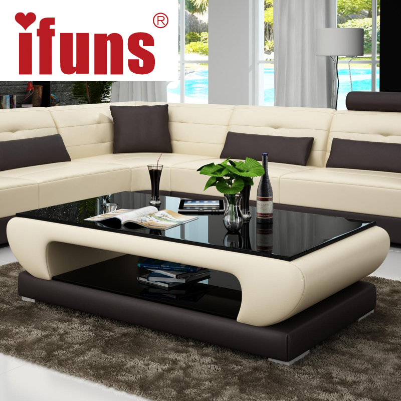 Ifuns Living Room Furniture Modern New Design Coffee Table Glass Top Wood Base Coffee Table