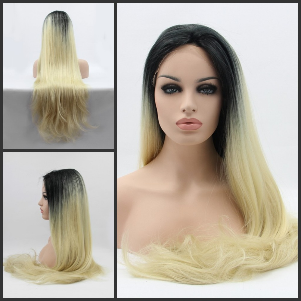 Synthetic Lace Front Wig Glueless Ombre Black/Blonde Two Tone Color Wave Heat Resistant Hair Wigs/ New - Qingdao noble queen hair factory store