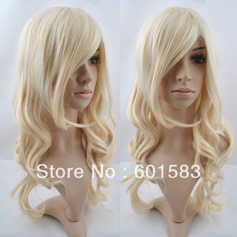 60cm Wavy Curly Cosplay Colorful Wig long curly hair oblique bangs anime cos wigs