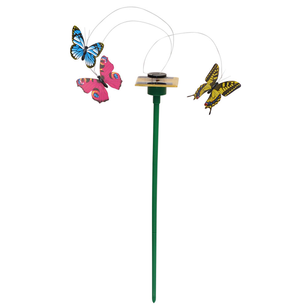 3Pcs Vibration Solar Powered Flying Fluttering Butterflies Colorful for Ground Sticks Home Garden Plant Decoration(China (Mainland))