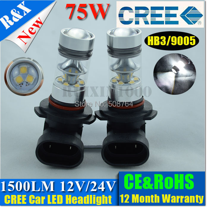9005 HB3 9006 HB4 CREE 75W NO ERROR LED CAR HEADLIGHT FOG LAMP BULB 12V/24V 1200LM WHITE RED AMBER - RX-autoled002 store