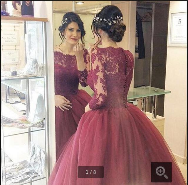 Новое поступление бургундия свадебные платья кружева три четверти рукав бальное платье ...