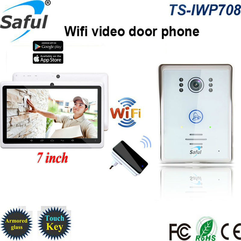 """7""""Touch Monitor 3G/4G IOS Android APP Wifi ip Video Intercom Home Door Phone Recorder System Supported Waterproof Rain Cover(China (Mainland))"""
